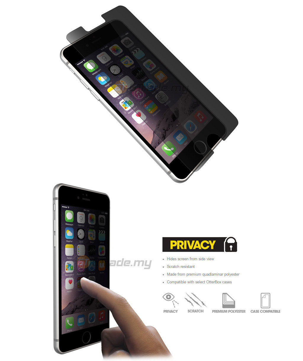san francisco 64086 e50d7 OTTERBOX Alpha Glass Screen Protector | Apple iPhone 6S Plus - Privacy