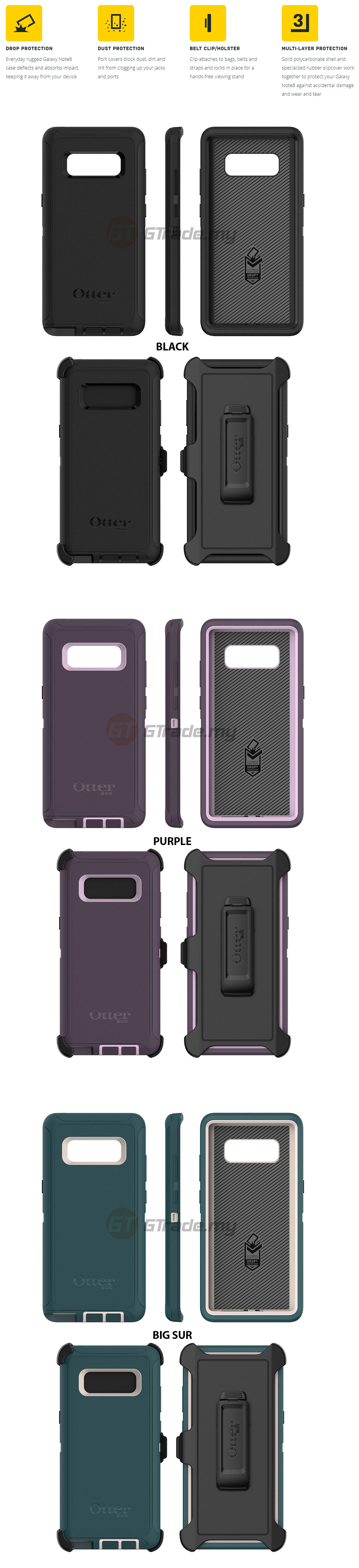 sneakers for cheap 79126 eabb0 OTTERBOX Defender Belt Clip Holster Case | Samsung Galaxy Note 8 ...