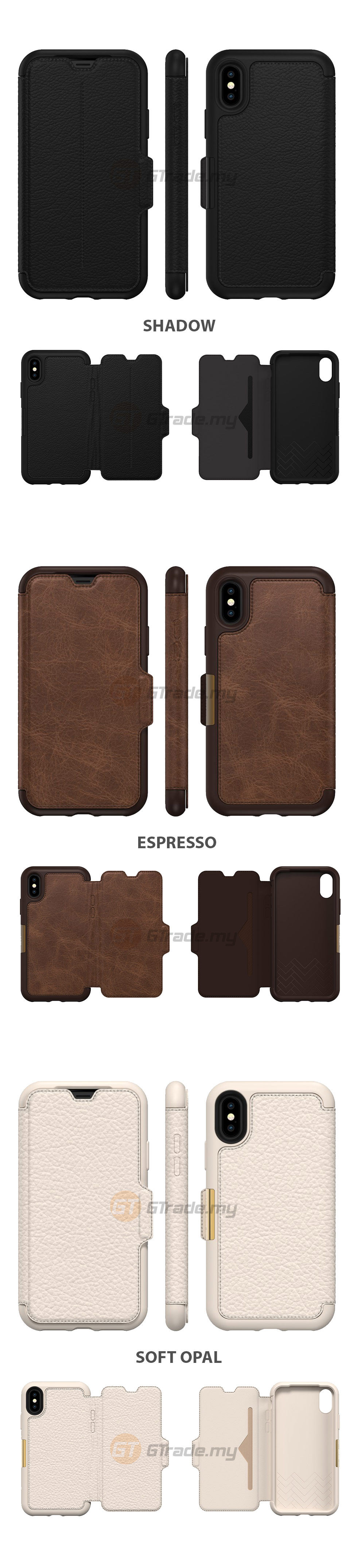 new style 6a067 884ea OTTERBOX Strada Folio Premium Leather Case Apple Iphone X Soft Opal ...