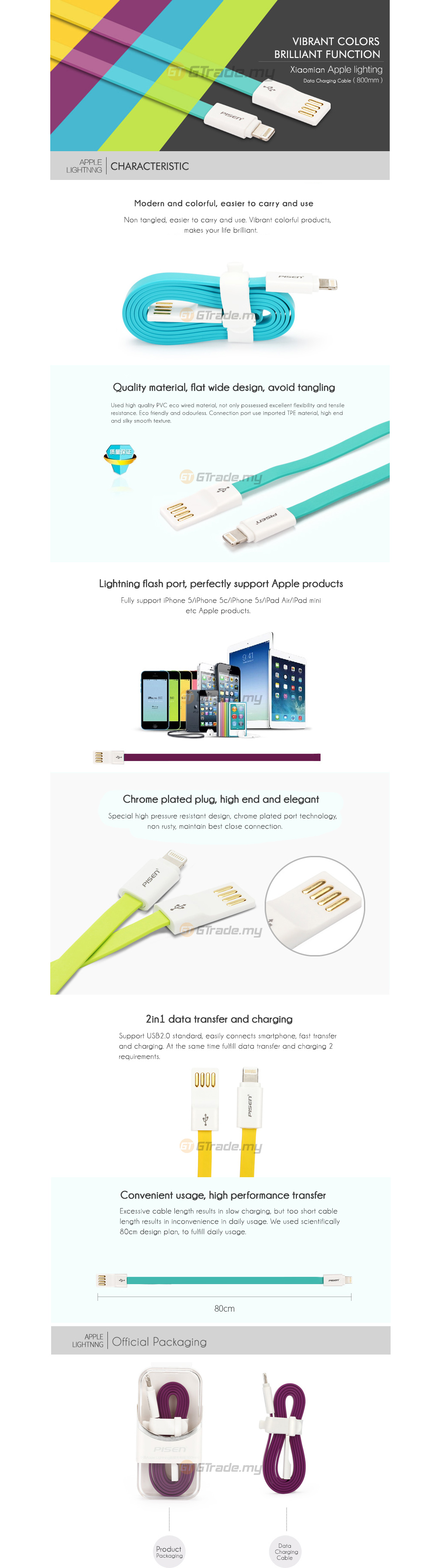 pisen-colorful-lightning-sync-charger-data-cable-apple-iphone-ipad